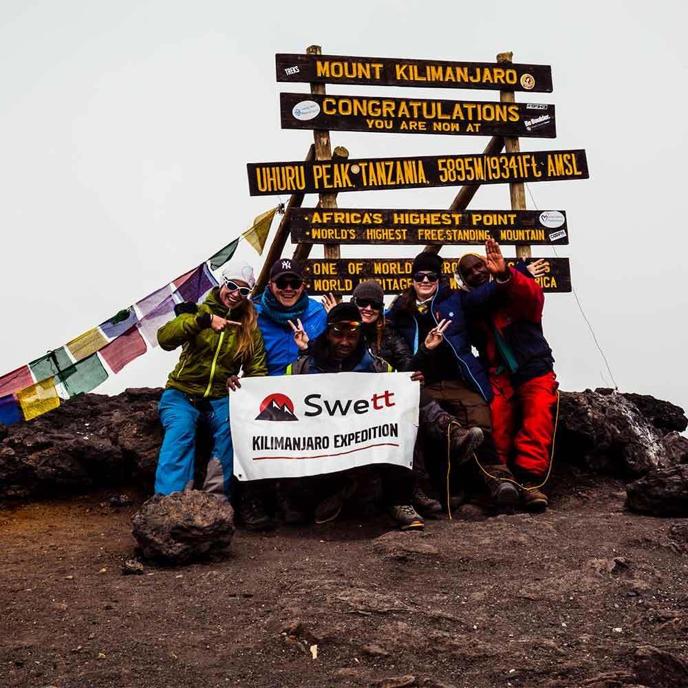Hela 92% av Swetts besökare når toppen av Kilimanjaro