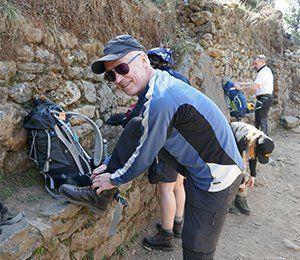 Förbereder sig inför vandringen med Swett mot Everest Base Camp