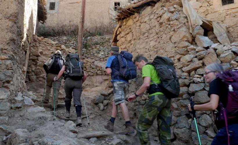 Vandring in i bergstaden Imlil i Atlasbergen