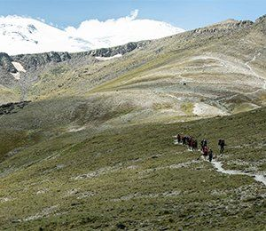 Vandring i mäktiga miljöer på vägen från Elbrus